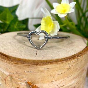 James Avery bracelet open heart bangle hook 925 sterling silver